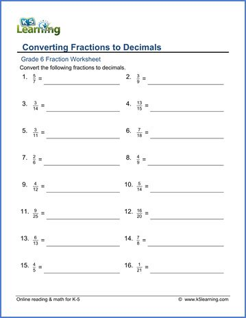 decimals worksheets 6th grade laptuoso