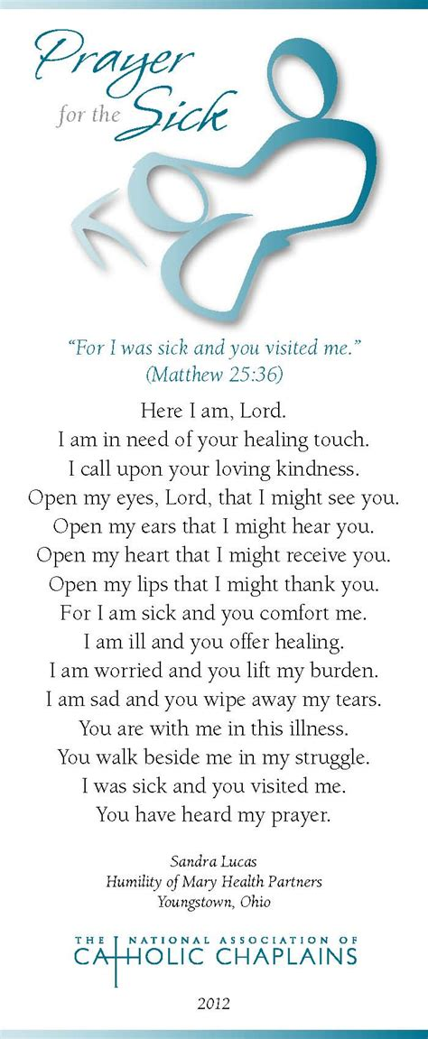 prayer for sick world day of the sick prayer card archives the national association of catholic