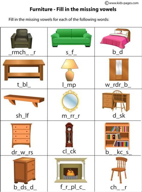 furniture fill in worksheet