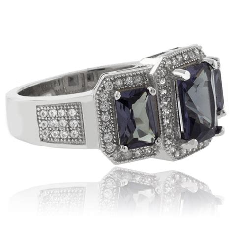 emerald cut 3 alexandrite 925 sterling silver ring