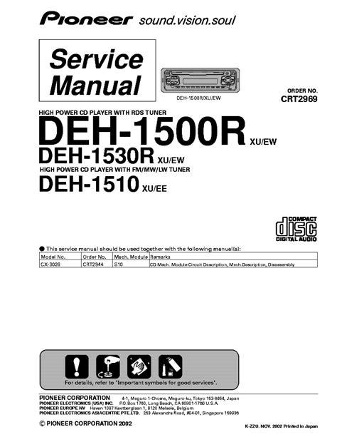pioneer deh 1500r deh 1530r deh 1510 service manual