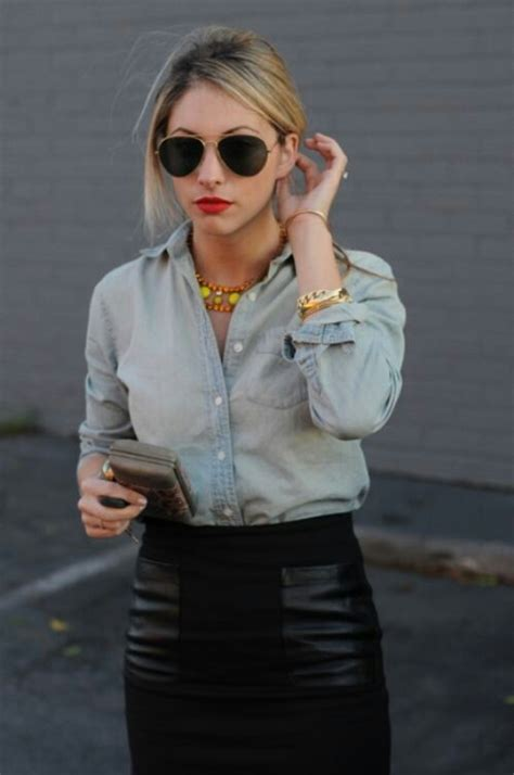 denim shirt leather skirt it style likes