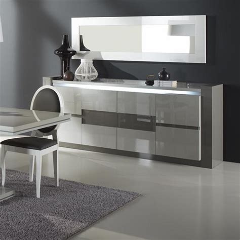 Grey Gloss Living Room Furniture Renoir Sideboard In Taupe And Grey Gloss With Lights And