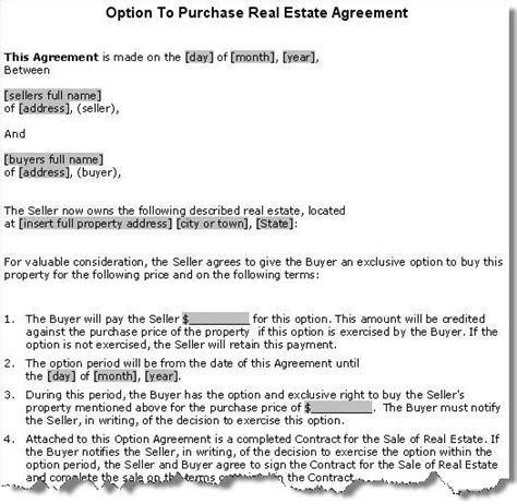 real estate option agreement template property purchase option agreement contract