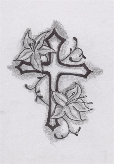 cross flower tattoo cross flower cross design by spirantharpy