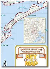 houston key map zip codes greater houston thoroughfares wall map with zip codes