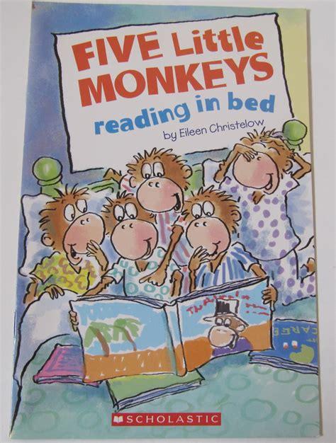 monkeys in the bed five little monkeys reading in bed by eileen christelow