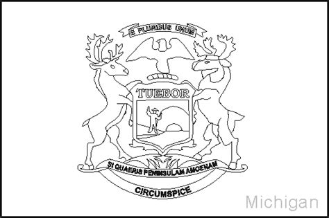 michigan state flag coloring pages usa for kids