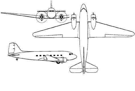 3 Drawing Views by 3 View Drawings For A Douglas Dc 3