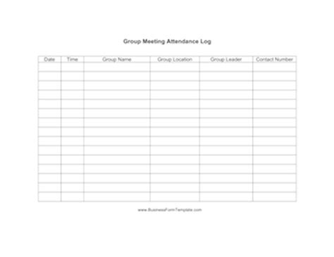 group meeting attendance log template