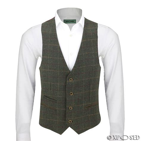 Vest Casual mens vintage formal tweed herringbone check waistcoat smart casual velvet vest ebay