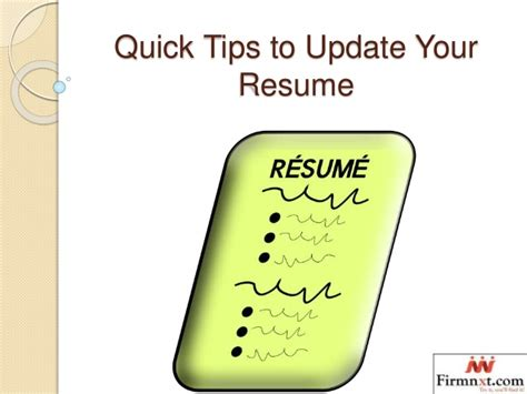 Update Resume Tips by Tips To Update Your Resume