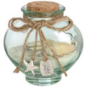 Decorative Jar by Small Seaside Themed Green Glass Decorative Jar