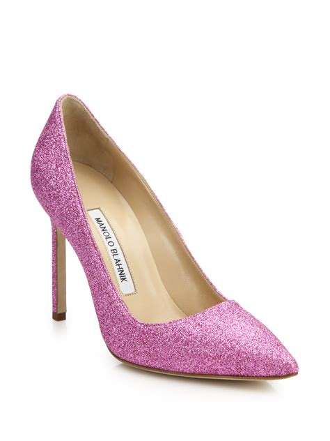Manolo Blahnik Gliter Black lyst manolo blahnik bb 105 glitter pumps in pink