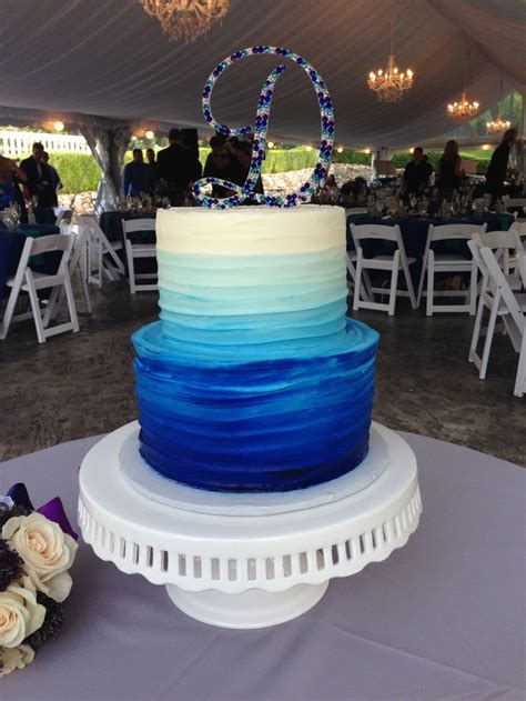 textured buttercream wedding cake  tier blue ombre