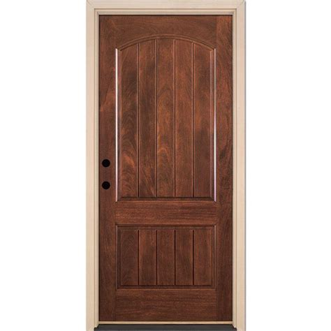 Front Door Panel Feather River Doors 37 5 In X 81 625 In 2 Panel Plank Chocolate Mahogany Stained Right