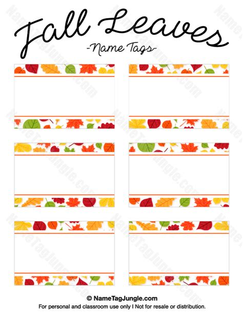 printable fall place cards template free printable fall leaves name tags the template can
