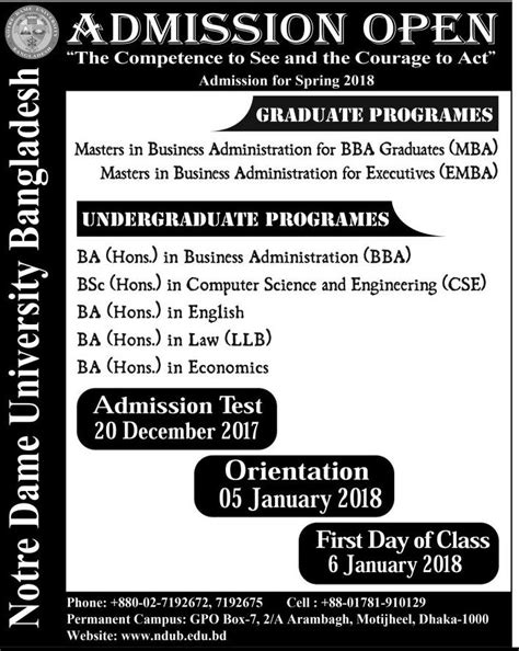 Mba In Notre Dame Bangladesh by Notre Dame Admission Circular 2018