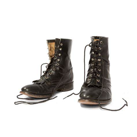 roper boots vintage laredo roper boots black leather lace up with kilties
