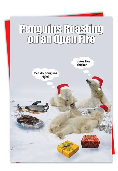 penguin roasting open fire hysterical christmas printed card