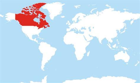 canada located   world map