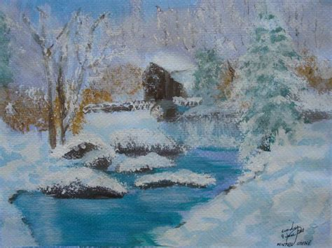 acrylic painting river winter watermill on river in winter acrylic painting