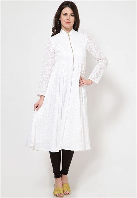kurtas pattern for ladies full sleeve self pattern white kurta indian kurtis