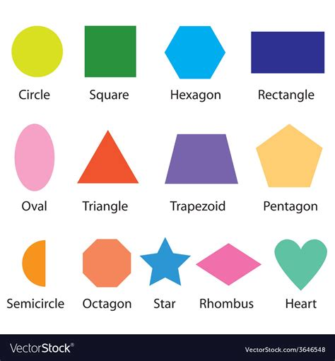 colored shapes shapes chart for royalty free vector image