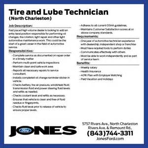 Tire And Lube Technician Sle Resume by Service Careers At Jones Ford Jones Ford