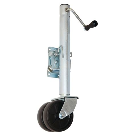 trailer swing jack 1500 lb capacity dual wheel swing back boat trailer jack