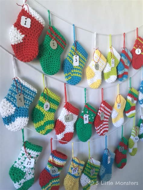 pattern for little christmas stocking free pattern this crocheted stocking advent calendar is