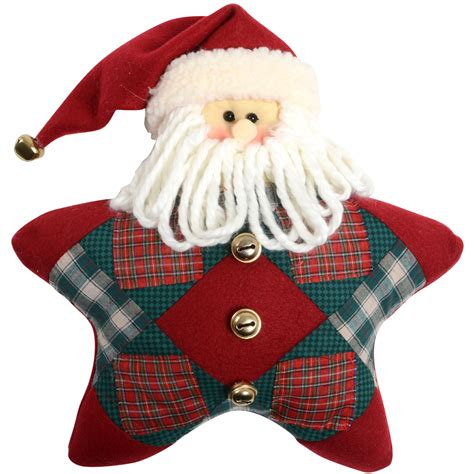 Patchwork Decorations - 12 quot shaped snowman santa tartan fabric patchwork