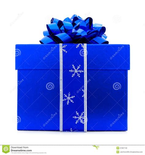 blue christmas gift box stock photo image 21997740
