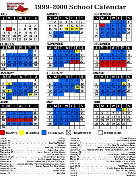 Chesterfield County School Calendar Chesterfield County School Calendar