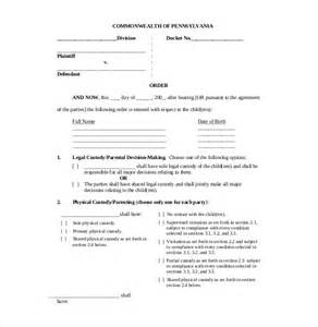 Agreement Letter Sle For Child Custody 10 Custody Agreement Templates Free Sle Exle Format Free Premium Templates