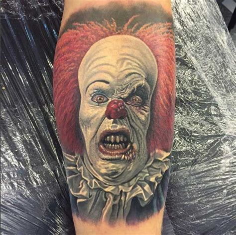 pennywise tattoo 20 horrifying clown tattoos that will haunt your dreams