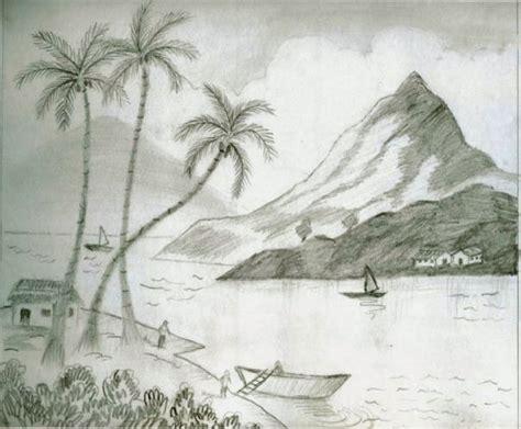 lake view pencil sketch speakart
