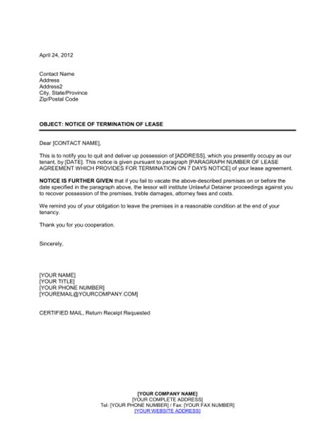 Lease Termination Letter Format India Landlord Lease Termination Letter