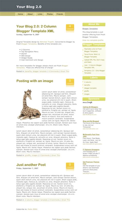 50 most beautiful blogger templates hongkiat