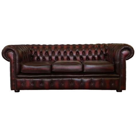 Sofa Bed Chesterfield Chesterfield Oxblood Real Leather 3 Seater Sofa Bed