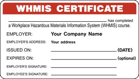 whmis certificate template certificate whmis id certificate western safety sign
