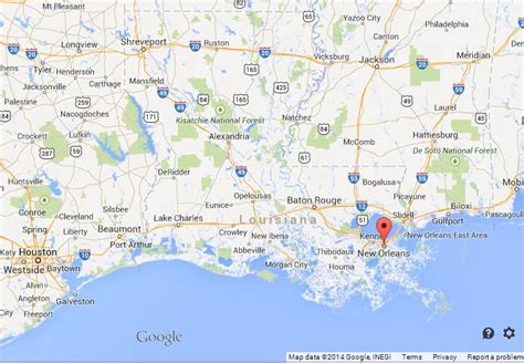 new orleans in map of usa new orleans on map of louisiana