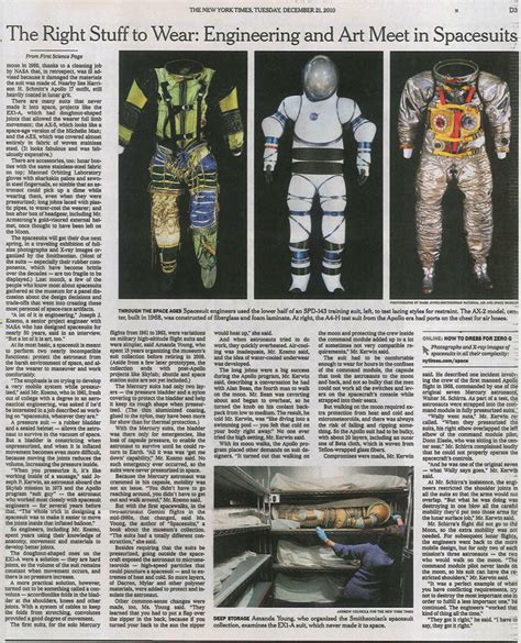 new york times science section spacesuits in the new york times science section