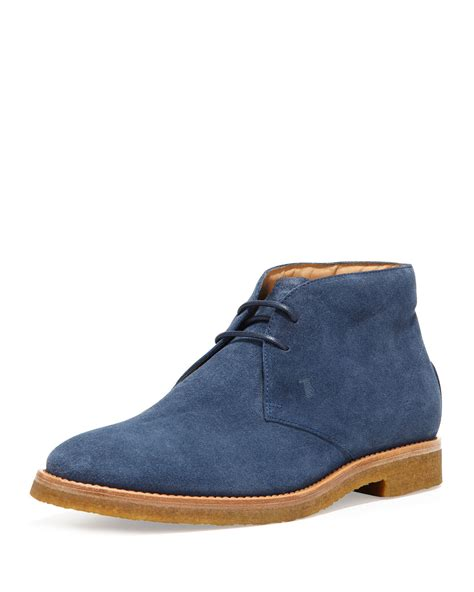 mens blue boots tod s mens suede laceup chukka boot blue in blue for
