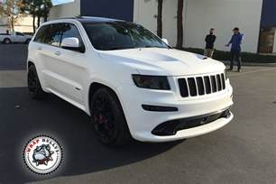 jeep srt wrapped in 3m satin white wrap wrap bullys