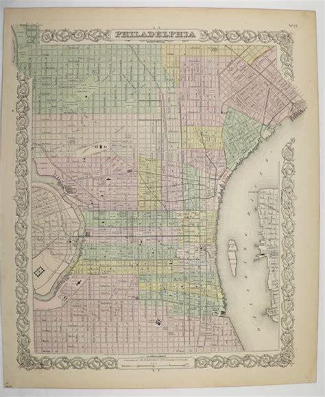 antique map of philadelphia 1859 colton philadelphia map original antique map philly