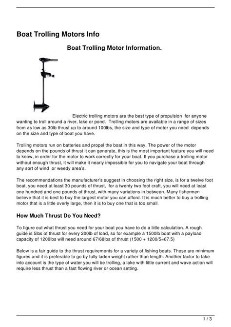 electric boat information boat trolling motors info