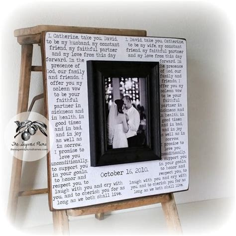 wedding vows framed 1st anniversary gift by thesugaredplums