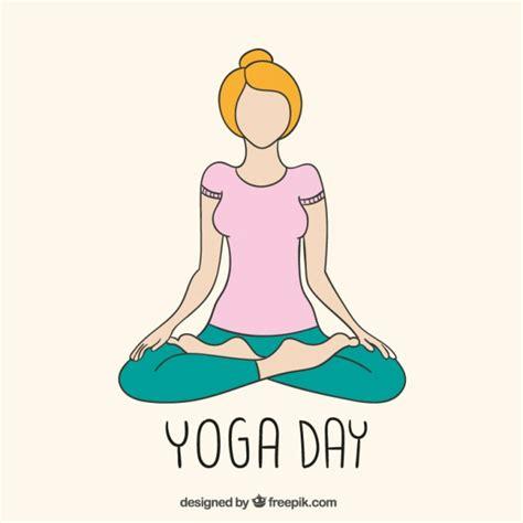 imagenes yoga dibujos yoga tag zeichnung download der premium vektor