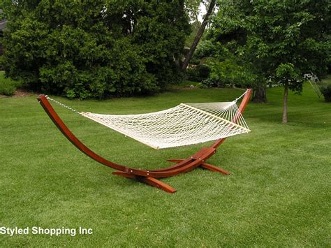 deluxe wood arc two person wood hammock stand set